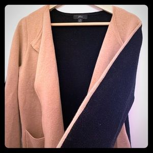 JCrew collarless cardigan blazer two- toned EUC